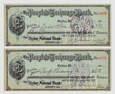 2 1909 Cancelled Checks - 1 Dick's Bros. Beer & 1 Ruffs Brewing Co Quincy, Il.