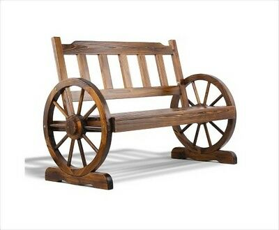 112cm Wooden Rustic Country Wagon Wheel 2 Seater Garden Bench Seat Stool Chair