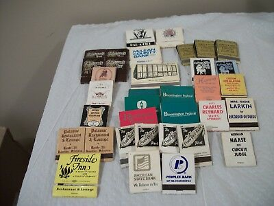 Bloomington Illinois Lot of 35 Matchbooks Full / Partial  A Few Surrounding Area