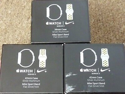 Lot of 3 Original BOXES from Flat Silver/Volt NIKE Series 2 Apple Watch 42mm