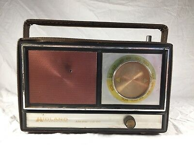 Vintage Midland International Portable Am Fm Radio Leather Case