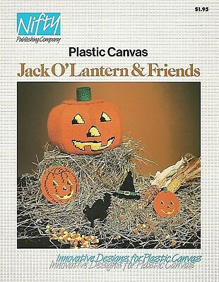 Jack O Lantern & Friends Pumpkin Witch Hat Cat Plastic Canvas Patterns Nifty NEW