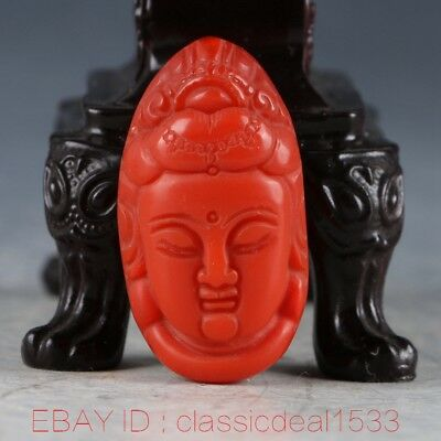 Chinese Old Jade Handwork Carved KwanYin Head Statue CC0246