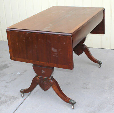 Deco Walnut Drop-Side Dining Table for 8 with Carved Sides, Australia, c.1920