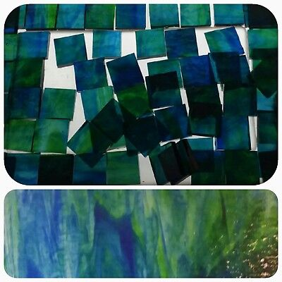 """100 - 1/2"""" Mosaic Tiles Stained Glass clear blue green - art backsplash"""