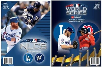 2018 World Series & Nlcs Program Set (2) Los Angeles Dodgers Mlb National League