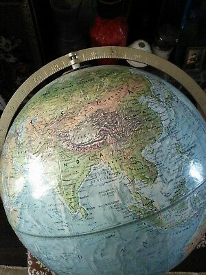 Vintage Readers Digest Repogle World Globe Metal Holder Timber Base Exc. Cond.