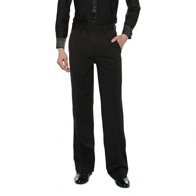 Men Ballroom Latin Salsa Modern Dance Pants Trousers Competition Practice Black