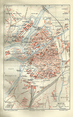 1906 METZ mit Namenregister - Alter Stadtplan Karte Antique City Map 15x24 cm