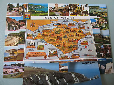 Vintage Foldout Postcard, ISLE of WIGHT - Colour - posted 1987