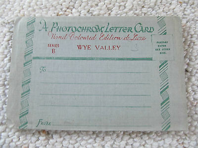 Vintage View Folder Photochrom Foldout lettercard  WYE VALLEY UK Hand coloured