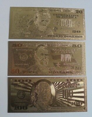 3X United States Gold Foil Banknote & 20,50,100 Dollars