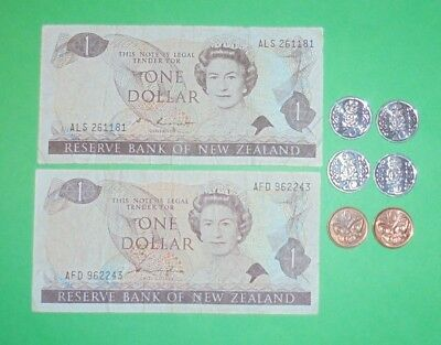 New Zealand $1 Notes & Coins