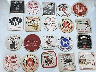 20 Vintage Retro Coasters Scotch Whisky Rum Jim Beam White Horse Teachers Dewars