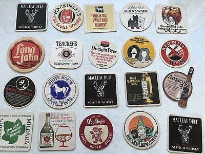20 Vintage Retro Coasters Scotch Whisky Teachers White Horse Red Mill Rum