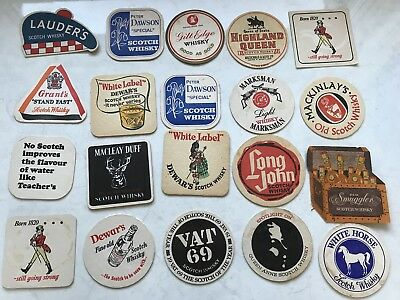 20 Vintage Retro Coasters Scotch Whisky Marksman Lauders Mackinlays Vat69 Walker