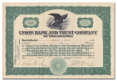 Union Bank and Trust Company of Philadelphia Stock Certificate