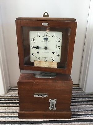 Cadburys Factory Mahogany National Time Recorder/clocking In Machine