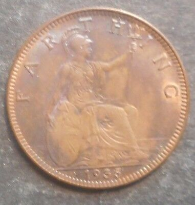 Great Britain 1935 George V Farthing Coin aUNC Some purple tone