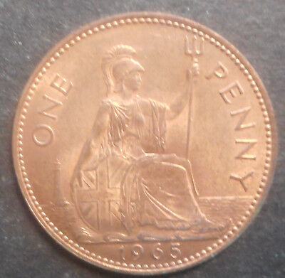 Great Britain 1965 QEII   Penny Coin UNC  red