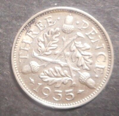 Great Britain 1935 George V   3d Threepence Silver Coin High Grade