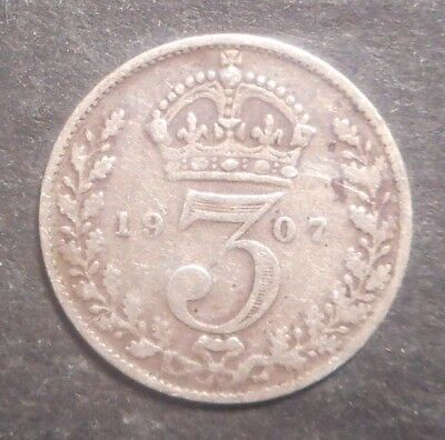 Great Britain 1907 KEVII , 1918 KGV 3d Threepence Silver Coin (2)