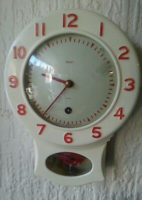 Vintage Smiths Mechanical Wall Clock with Key and Pendulum Working Red/Cream