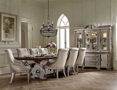 Luxury Antique White Traditional Formal Dining Set Room Furniture Table
