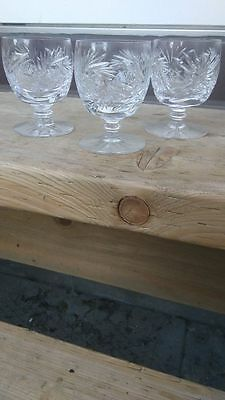 Lot of 3 Vintage to Antique Cut Crystal Punch Liquor Glasses