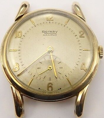 Vintage Rotary 9ct gold gents 15 jewel Swiss gents wristwatch In Working Order.