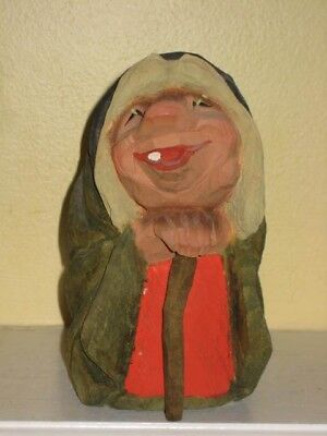 """Vintage Henning Norway folk art Hand Carved WOOD TROLL with cane 6-3/4"""""""