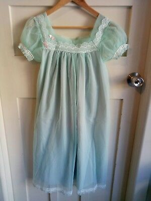 Vintage Womens Nightgown Nightie Dress by Tricozette Nylon Green Lace Lined