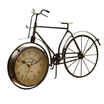 Vintage Iron Bicycle Type Table Clock Classic Non-Ticking Silent Retro Decora Z2