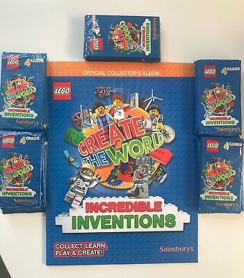 Lego Create The World Official Collector's Album Sainsburys + 50 Packs Of Cards