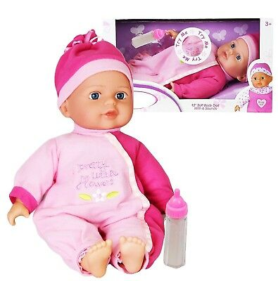 """Girls Pink 12"""" Soft Body Baby Cuddles Doll With 6 Different Sounds Kids Toy Gift"""