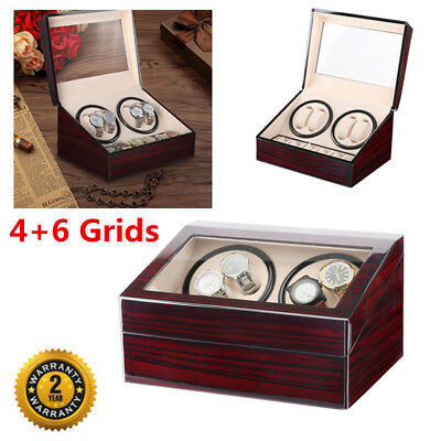 Automatic Rotation 4+6 Luxury Wooden Watch Winder Display Box Storage Case UK