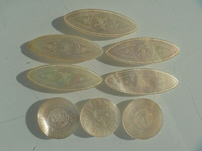 19th Century Chinese Antique Gaming Chips / Token . 8 Assorted Mother Of Pearl
