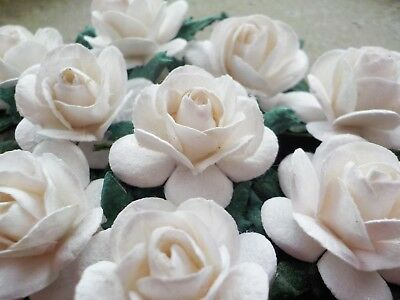 """100! Large Mulberry Paper Roses - 20mm/0.75"""" - Wedding White Rose Embellishments"""