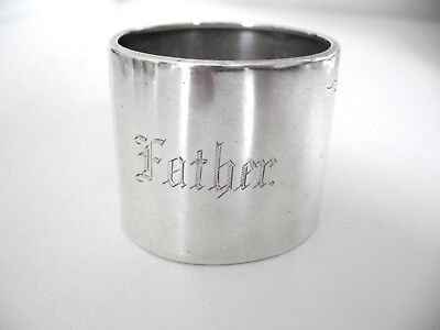 Ornate sterling silver napkin ring beautifully engraved FATHER