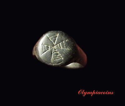 ** EXCELLENT ** Ancient Byzantine Billon ring ** CROSS **