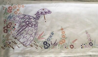 Vintage Hand Embroidered Crinoline Lady White Linen Tablecloth