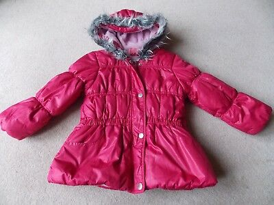 Girls Dark Pink Quilted Fleece-Lined Hooded Coat 4yrs 106cm by Pumpkin Patch