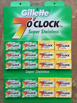 100 Mix Gillette 7 O'clock Sharp Edge And Super Stainless DE Razor Blades £9.99