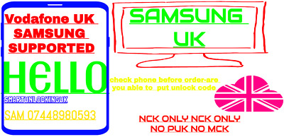 Unlock Code VODAFONE UK for SAMSUNG S5 S6 S7 S9 S8 NOTE 9 NOTE 8 A9 A7 A5 J6 j4