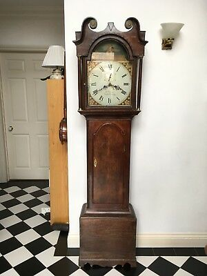 Oak 8 Day Longcase Grandfather Clock with Painted Dial Circa 1840