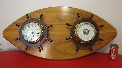 Vintage Schatz Ships Bell Clock 8-Day Key Wind W/ Barometer Germany - Works !