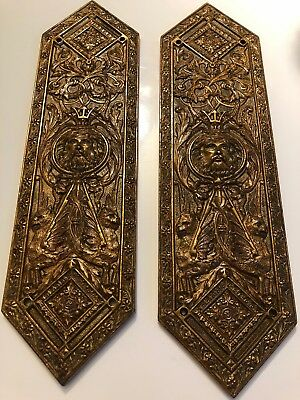 PAIR of VINTAGE ANTIQUE SOLID BRASS DOOR FINGER PUSH PLATES Victorian? ornate