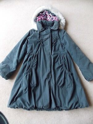 Girls Dark Grey Hooded (removable) Quilted Coat 10-11yrs by Matalan
