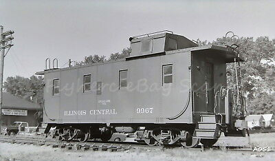 Original B&W negative Illinois Central IC steel caboose 9967 at Council Bluffs