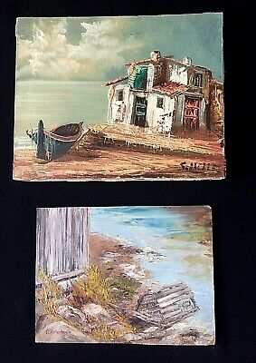 Oil On Canvas Miniature Painting Of Lonely Fishing Cabin & Boat Signed By Artist